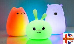 Battery Silicone LED Night Light 7 Colours Cat Bear Rabbit Lamp Baby Kids
