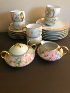 Hand painted, antique Bavarian China tea set, service for 6