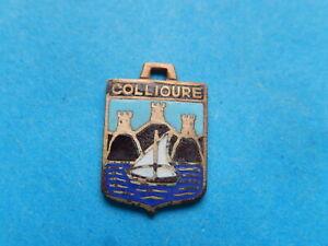 medaille pendentif  BLASON TOURISME VILLE   EMAILLE  COLLIOURE VOILIER TOURS