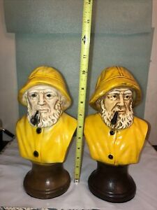 "Vintage Nautical Salty Seaman Captain Chalkware Bust Statue Bookend - 10"" High"