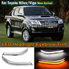 LED Headlight Eyebrows Eyelids Trim Lamp Cover DRL For Toyota Hilux Vigo 2012 UP
