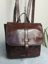 The Bridge Italian Leather Brown Grab Bag Backpack Rucksack Handbag N86
