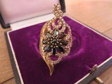 Großer 925 Silber Ring Vergoldet Schwarze Weiße Steine Black and White Blume