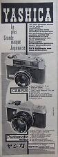 PUBLICITÉ PRESSE 1962 YASHICA APPAREIL CAMPUS ET PENTAMATIC REFLEX - ADVERTISING
