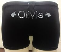 Personalised LYCRA Black Dance Gymnastic Gym Shorts Glitter Text + UNICORNS