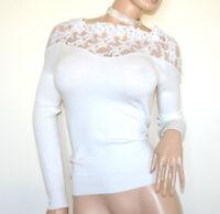 CAMISETA mujer BLANCA velada underjacket manga larga sueter encaje bordado G72
