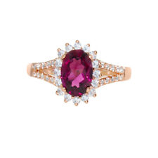 NATURAL PINK RUBELLITE TOURMALINE AND DIAMOND HALO PINK GOLD RING