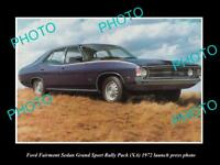 OLD LARGE HISTORIC PHOTO OF 1972 FORD FAIRMONT XA GS LAUNCH PRESS PHOTO