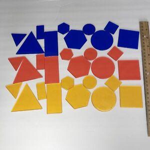 Homeschool Math Manipulative set 30 Transparent Overhead Attribute Blocks shapes