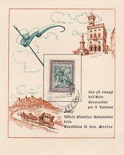 SAN MARINO - BIGLIETTO SPECIALE UFF FILATELICO 1952 CON FRANCOBOLLO ANNULLATO
