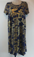 LulaRoe Womens Size Small Short Sleeve Blue Gold Floral Carly Dress