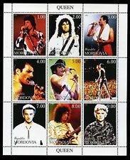 QUEEN 1999 Mordovia Stamp Sheet; perforated sheet of 9, bizarre issue, ex/nm cnd