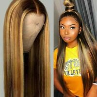 Women Fashion Brown Highlight Ombre Human Hair Wigs Long Brazilian Hair Wigs