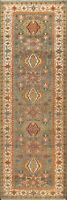 """Geometric Traditional GREEN Oriental Runner Rug Hand-knotted Wool 2' 7""""x7' 11"""""""
