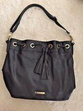 Liz Claiborne Hobo Purse Handbag Shoulder Bag Tassel Black & Gold  26 X 11 X 14