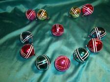 ~ alter Christbaumschmuck 12 Weihnachtskugeln Glas rot pink gold grün blau weiß
