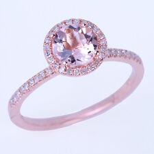 10K Rose Gold Round 6mm Genuine Morganite Diamonds Halo Engagement Wedding Ring