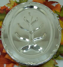 "CROSBY Silverplate FOOTED Carving Meat Tray Platter FLORAL PATTERN 16"" X 11-3/4"""