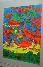Vintage Psychedelic Houston Back Light Poster Flying Sound 1971 Psychedelic Neon