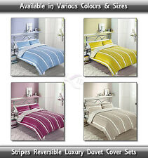 Luxury Stripes Black, Green, White, Berry & Blue Reveresible Duvet Cover Set New