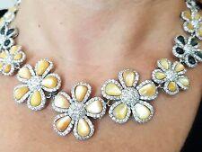 Hermoso Perlas de agua dulce natural, Cubic Zircon, collar de flores