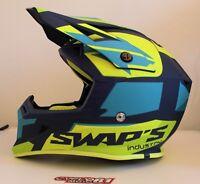 Casque motocross SWAP'S BLUR S818 Bleu / Jaune Fluo Mat
