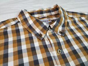 Carhartt Mens Button Front Shirt Relaxed Fit Brown Plaid Short Sleeve 2XL XXL