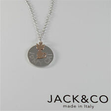 925 RHODIUM SILVER JACK&CO NECKLACE WITH 9KT ROSE GOLD CAT KITTEN  MADE IN ITALY