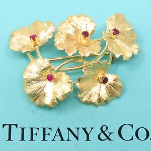 NYJEWEL Tiffany & Co. 18k Yellow Gold Natural Ruby Floral Leaf Pin Brooch