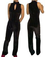 Amisu Damen Elegante Velours Jumpsuit/Overall ärmellos Schwarz