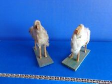 2 Miniature Sheep For Putz Display- Cotton Covered Wood