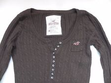 Hollister~Brown cable knit Sweater with small buttons size M
