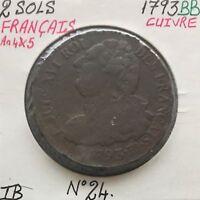 2 SOLS - FRANCAIS - LOUIS XVI - 1793BB - Pièce de Monnaie en Cuivre // TB