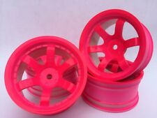 Rc Car 1/10 Drift 5 Spoke 37R Rims Wheels 9 Offset fits Tamiya HPI HSP PINK x4