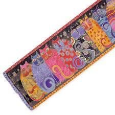 Laurel Burch 100% Silk Oblong Scarf Golden Red Orange Purple Cats Silk Scarf New
