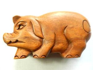 Wooden Pig Puzzle Trinket Box Carving - Standing Pig Design