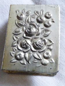 VTG Antique Silverplate Tabletop Matchbox Cover Rose Flower Floral Relief Design