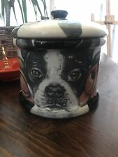New listing Custom Ceramic Dog Treat Cookie Jar Boston terrier large canister tye dye urn