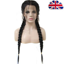 Synthetic Baby Hair Braided Lace Front Wig Straight Long Black Women Hair L1