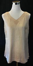 Coldwater Creek V Neck Soft Gold Shimmer Shell Top Blouse Lined Dressy M 10 12