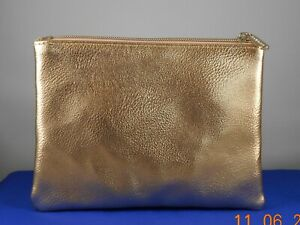 Bareminerals Metallic Rose Gold Faux Leather Zip Top Pouch Cosmetic Bag