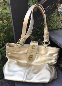 Gold Leather Coach Tote Hand Bag Legacy Stripe Buttery Soft