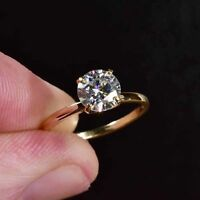 2 Ct Round Cut Diamond 14k Yellow Gold Finish Solitaire Engagement Ring