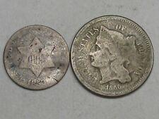 2 Obsolete US Coins: 1853 3¢ Cent Silver & 1866 3¢ Cent Nickel - Both Weak.  #18