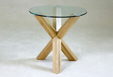 Lamp Side End Coffee Table Round Clear Glass Light Solid Oak Tripod Legs