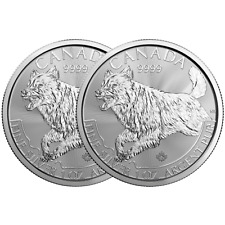 Lot of 2 - 2018 $5 Silver Canadian Wolf Predator Series 1 oz Brilliant Uncircula