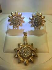 Pave 1.24 Cts Round Brilliant Cut Diamonds Pendant Earrings Set In Fine 14K Gold