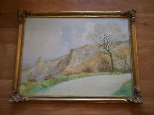 Drawing Watercolour Antique C Duffaud 1925 Landscape Mountain Frame Golden
