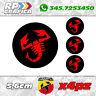 KIT 4 ADESIVI ABARTH COPRI MOZZO sticker FIAT 500 595 695 black & red
