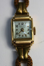Vintage Antique Deco Ardath Solid 14k Rose Gold Wrist Watch Cloth Band EUC